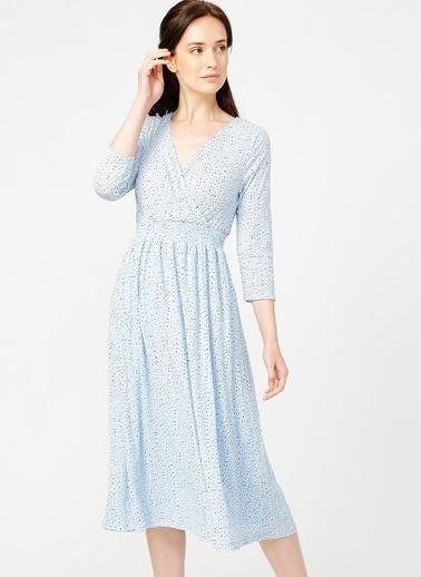Only Only Mavi Desenli Elbise Mavi